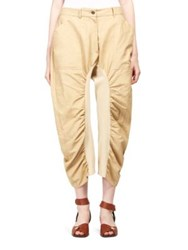 Stella Mccartney Tina Ruched Cotton Trousers Biscuit