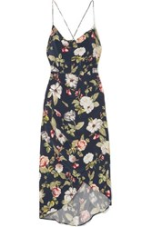 Alice Olivia Reena Wrap Effect Floral Print Matte Satin Dress Navy