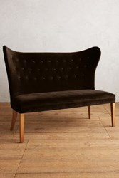 Anthropologie Velvet Wingback Bench Armless Chocolate