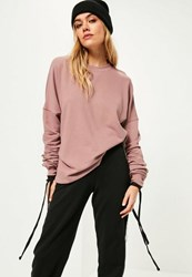 Missguided Purple Extreme Ruched Sleeve Detail Sweatshirt Mauve