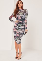 Missguided Floral Printed Mesh Ruched Bodycon Dress Multi