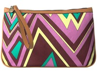 M Missoni Zigzag Canvas Pouch Brown Handbags