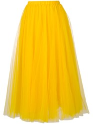 Rochas Full Chiffon Midi Skirt Yellow Orange