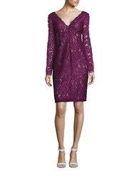 Vera Wang V Neck Lace Overlay Dress Purple