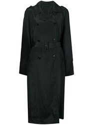 Helmut Lang Double Breasted Trench Coat Black