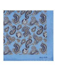Reiss Foster Silk Pocket Square In Sky Blue
