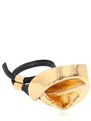 Loewe Calla Lily Brass And Leather Bracelet