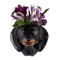 Quail Ceramics Dachshund Wall Vase Black Tan