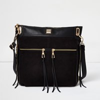 River Island Womens Black Zip Panel Messenger Bag