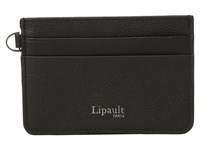 Lipault Paris Plume Elegance Leather Card Holder Black Credit Card Wallet
