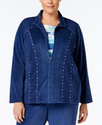 Alfred Dunner Plus Size Embellished Velour Jacket Dark Blue