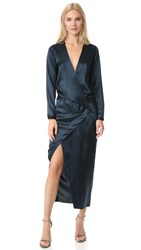 Michelle Mason Long Sleeve Wrap Gown Carbon