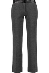 Tory Burch Linette Cropped Wool Blend Straight Leg Pants Charcoal