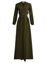 Rhode Resort Jagger Wrap Front Silk Maxi Dress Dark Green
