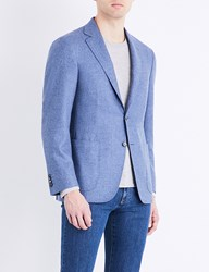 Canali Hopsack Woven Regular Fit Wool And Cashmere Blend Jacket Sky Blue