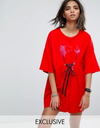 Milk It Vintage T Shirt Dress With Fish Print And Lace Up Front Red