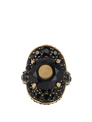 Gucci Crystal Embellished Ring Black