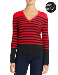Lord And Taylor Striped Cashmere Sweater True Red