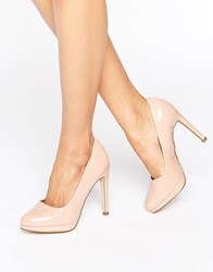 New Look Patent Round Toe Court Shoe Cream Beige