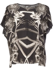 Lost And Found Skeleton Print Top Black