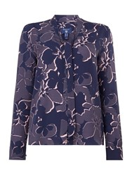 Gant Floral Print Blouse With Neck Tie Blue Multi