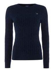 Gant Cotton Crew Neck Cable Jumper Navy