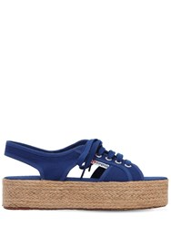 Superga 40Mm Canvas Platform Sandals Blue