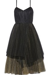 Marc By Marc Jacobs Pleated Metallic Tulle Midi Dress Black