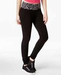 Material Girl Active Juniors' Chevron Print Lace Trim Leggings Only At Macy's Classic Black