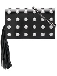 Balmain Logo Studded Clutch Bag Black