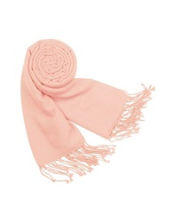 Forzieri Solid Pure Pashmina Fringed Shawl Baby Pink