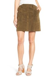 Current Elliott 'The Leather' Button Front A Line Skirt Green