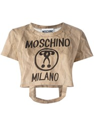 Moschino Bag Handle T Shirt Nude Neutrals