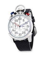 Ct Scuderia Corsa Stainless Steel And Perforated Leather Strap Watch White
