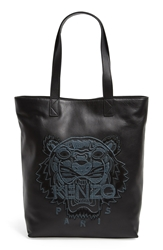 Kenzo 'Tiger' Leather Tote Noir