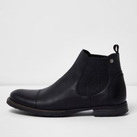 River Island Mens Black Leather Distressed Chelsea Boots