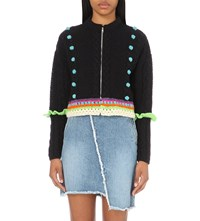 Katie Jones Pom Pom Wool Blend Cardigan Navy Neon