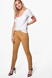 Boohoo Zip Side Skinny Stretch Trousers Camel