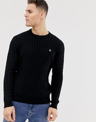 Jack Wills Marlow Cable Crewneck Jumper In Black
