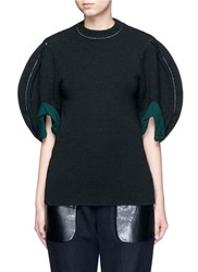 Toga Archives Puff Sleeve Wool Knit Top Black