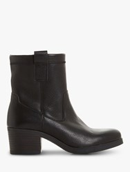 Bertie Pacer Leather Block Heeled Ankle Boots Black