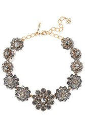 Oscar De La Renta Burnished Gold Tone Crystal Necklace Gold