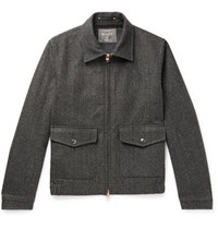 Private White V.C. Woolmark Prince Of Wales Checked Merino Wool Bomber Jacket Charcoal
