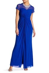 Marina Sheer Illusion Embellished Gown Petite Blue