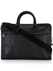 Bottega Veneta Woven Business Bag Black
