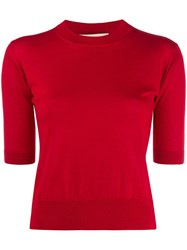 Marni Round Neck Knitted Top Red