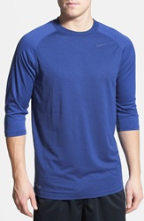 Nike Dri Fit Three Quarter Length Raglan Sleeve T Shirt Game Royal Dk Grey