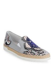Tod's Printed Leather Espadrilles Grey