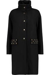 Love Moschino Stud Embellished Wool Blend Coat