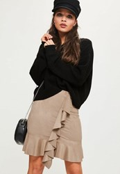 Missguided Nude Faux Suede Frill Front Mini Skirt Tan